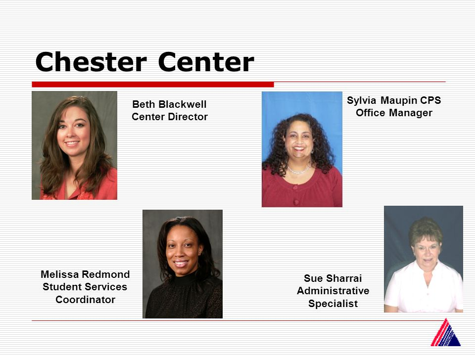 Chester Center Beth Blackwell Center Director Sylvia Maupin CPS Office Manager Melissa Redmond Student Services Coordinator Sue Sharrai Administrative