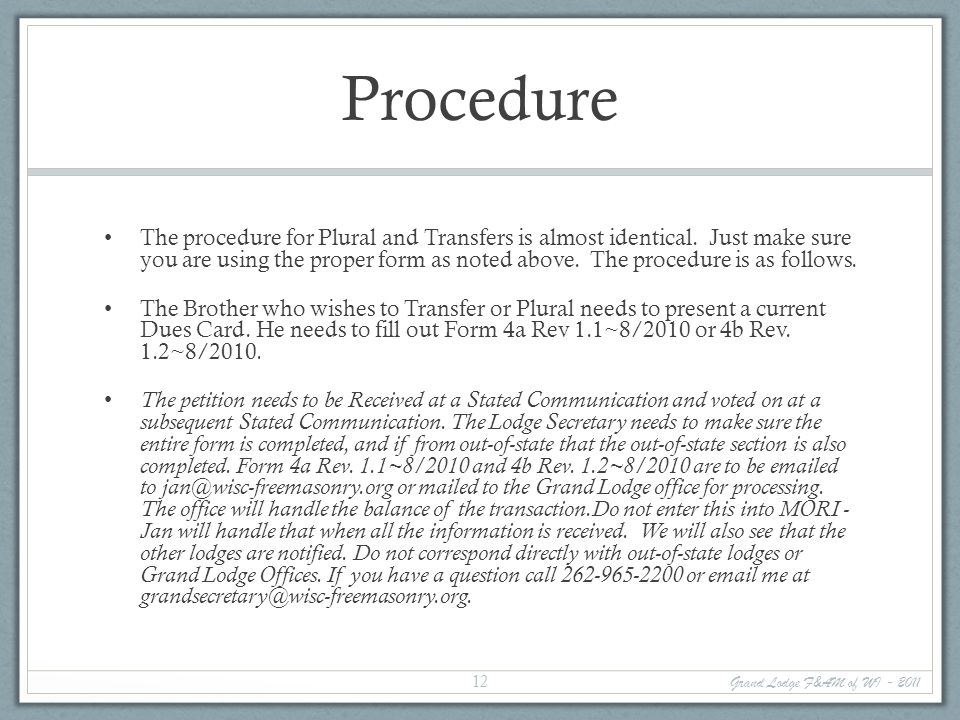 Procedure The procedure for Plural and Transfers is almost identical.