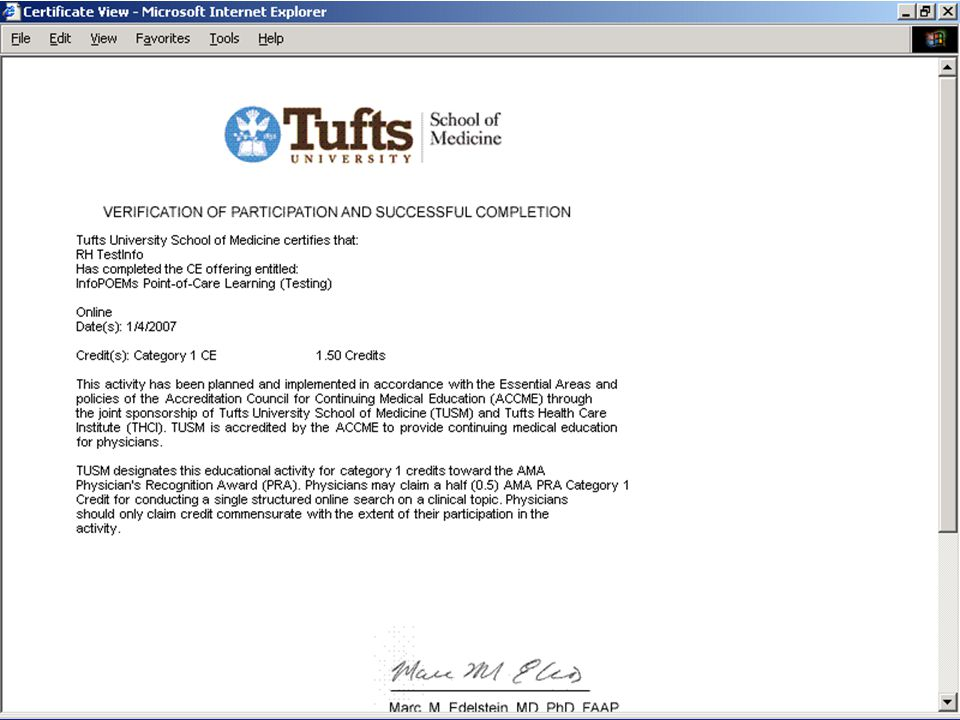 Tufts Health Care Institute/Office of Continuing Education 19