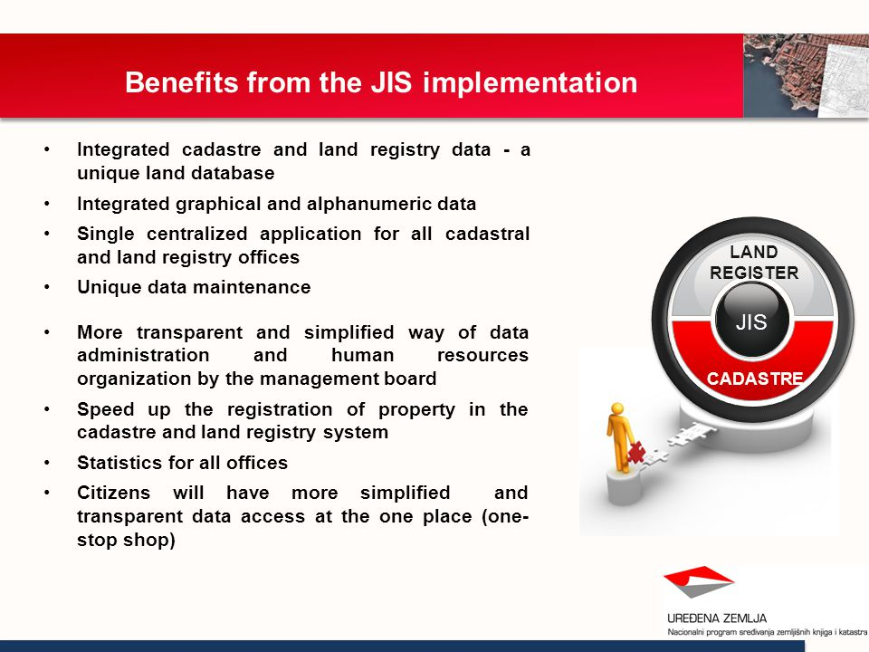 Benefits from the JIS implementation Integrated cadastre and land registry data - a unique land database Integrated graphical and alphanumeric data Single centralized application for all cadastral and land registry offices Unique data maintenance ZIS JIS LAND REGISTER CADASTRE More transparent and simplified way of data administration and human resources organization by the management board Speed up the registration of property in the cadastre and land registry system Statistics for all offices Citizens will have more simplified and transparent data access at the one place (one- stop shop)