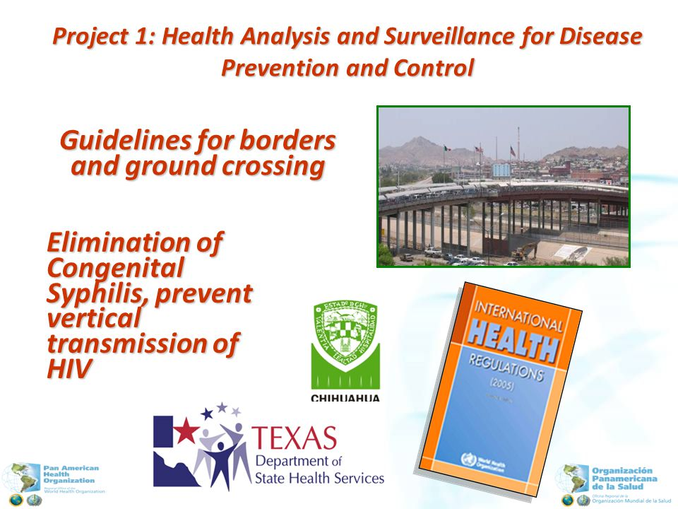 Elimination of Congenital Syphilis, prevent vertical transmission of HIV Guidelines for borders and ground crossing Project 1: Health Analysis and Surveillance for Disease Prevention and Control