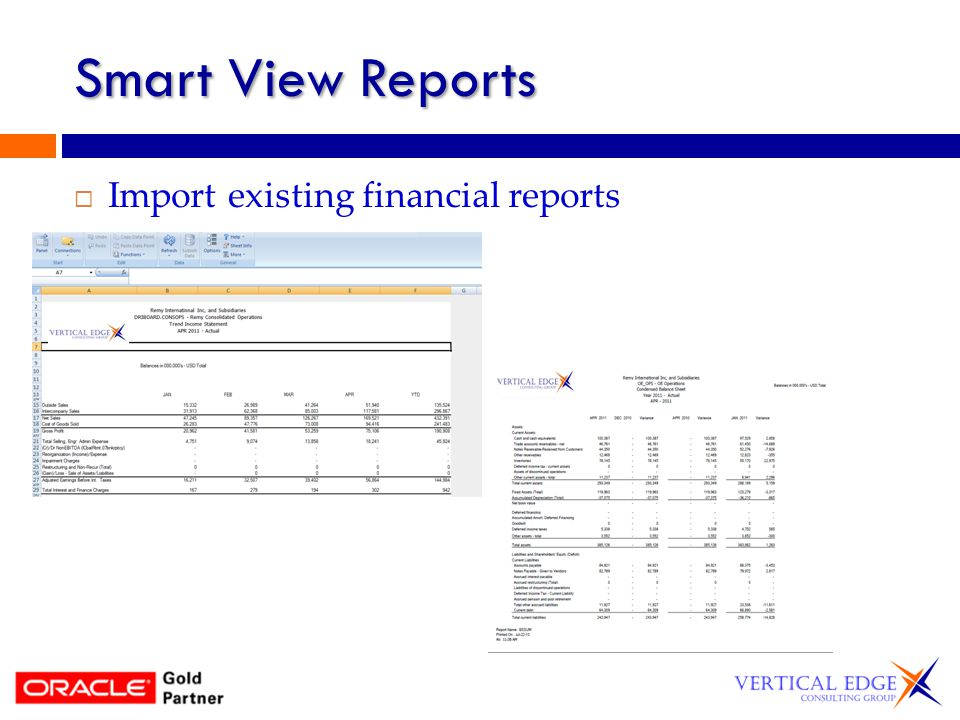Smart View Reports Import existing financial reports
