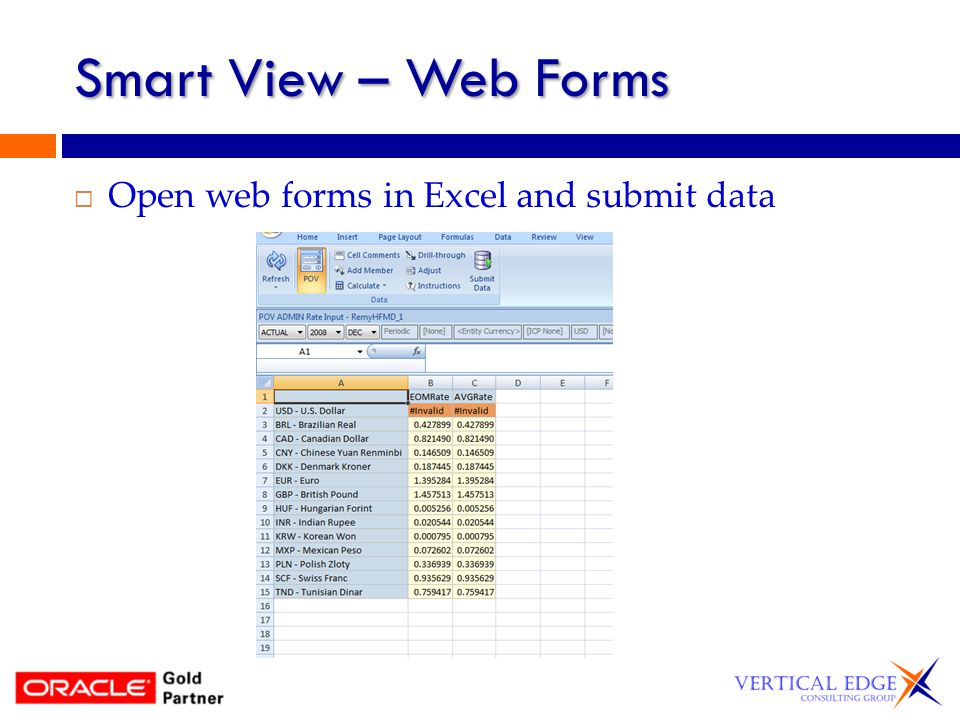Smart View – Web Forms Open web forms in Excel and submit data