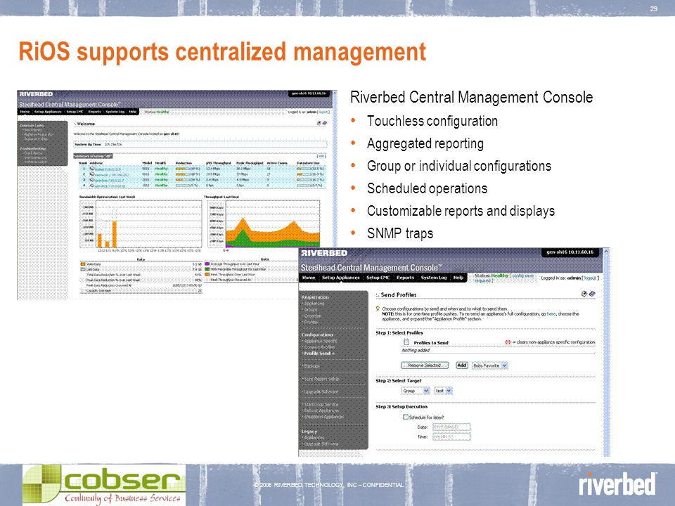© 2006 RIVERBED TECHNOLOGY, INC – CONFIDENTIAL 29 RiOS supports centralized management Riverbed Central Management Console Touchless configuration Agg