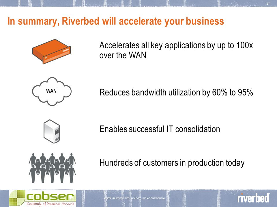 © 2006 RIVERBED TECHNOLOGY, INC – CONFIDENTIAL 37 In summary, Riverbed will accelerate your business Reduces bandwidth utilization by 60% to 95% Accel