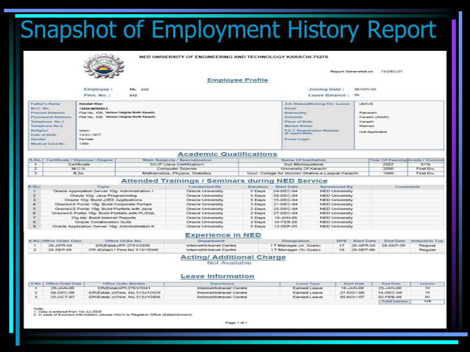 HRMS is developed by portal team, data being updated by Registrar Estab. Office. Edit Profile link is to edit basic profile. Profile link shows employ