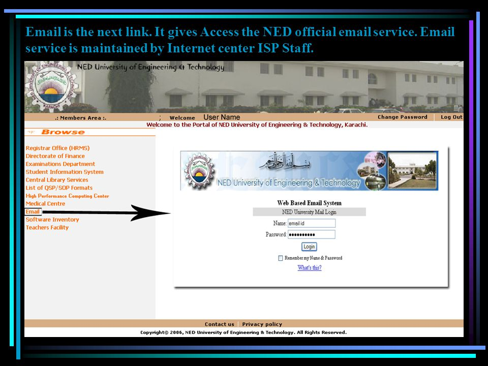 Medical Center is the next link. Page shows information about medical center.