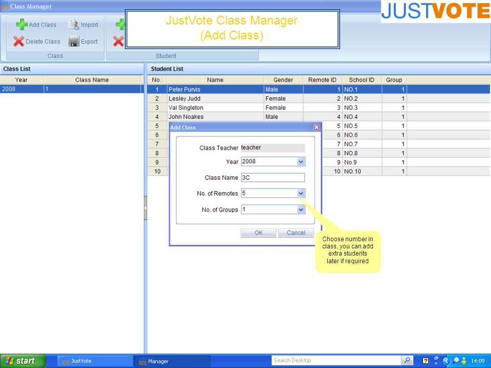 JustVote Class Manager (Add Class) Choose number in class, you can add extra students later if required