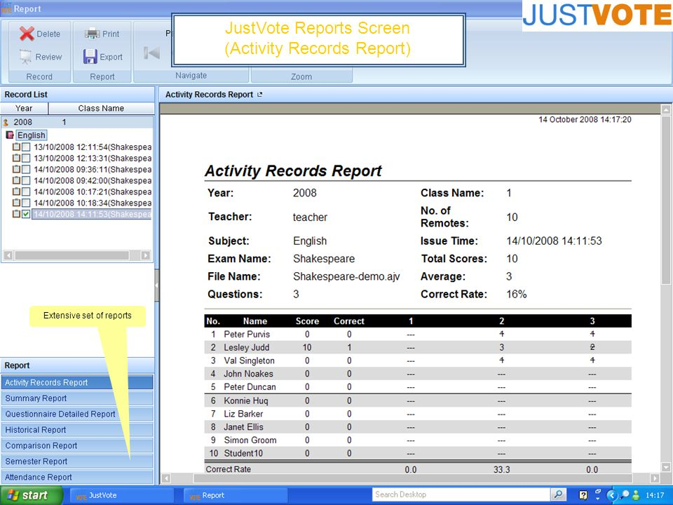 JustVote Reports Screen (Activity Records Report) Extensive set of reports