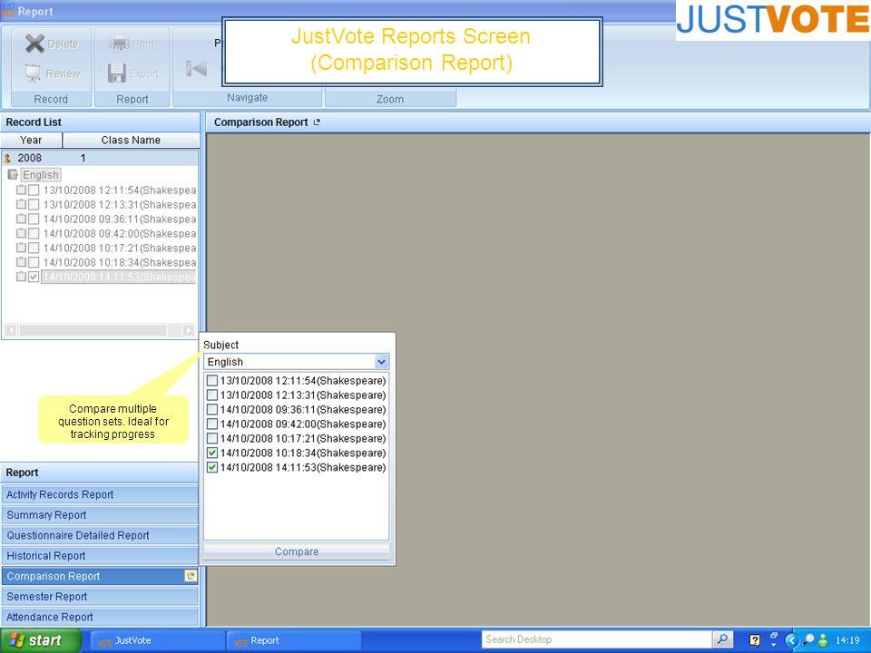 JustVote Reports Screen (Comparison Report) Compare multiple question sets.