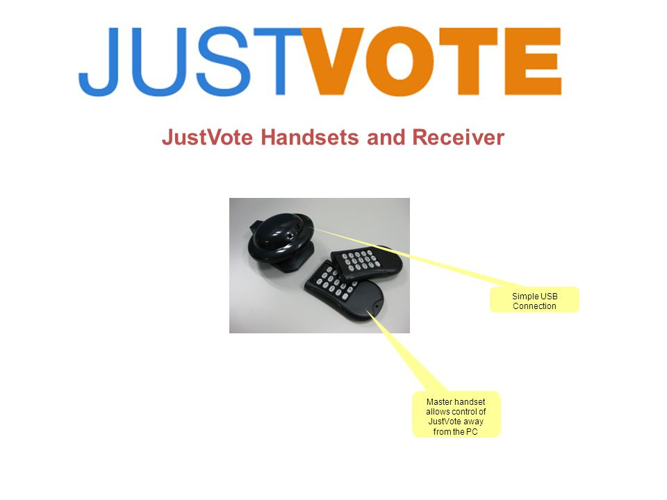 JustVote Handsets and Receiver Master handset allows control of JustVote away from the PC Simple USB Connection