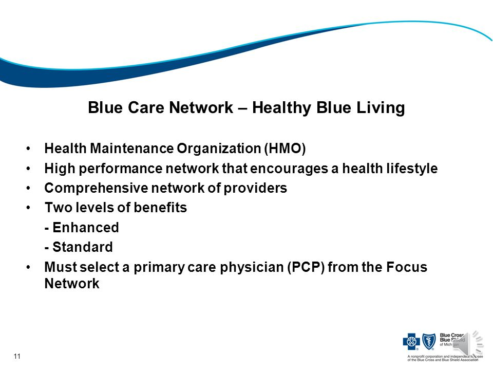 Blue Care Network – Healthy Blue Living Health Maintenance Organization (HMO) High performance network that encourages a health lifestyle Comprehensive network of providers Two levels of benefits - Enhanced - Standard Must select a primary care physician (PCP) from the Focus Network 11