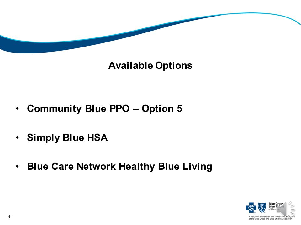 Available Options Community Blue PPO – Option 5 Simply Blue HSA Blue Care Network Healthy Blue Living 4