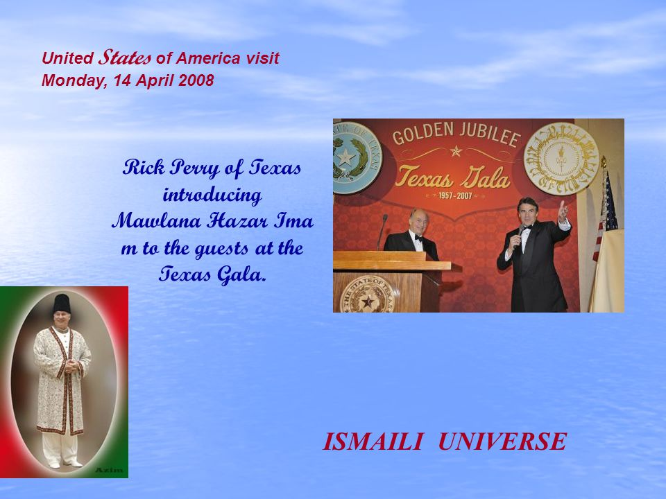 Rick Perry of Texas introducing Mawlana Hazar Ima m to the guests at the Texas Gala. United States of America visit Monday, 14 April 2008 ISMAILI UNIV