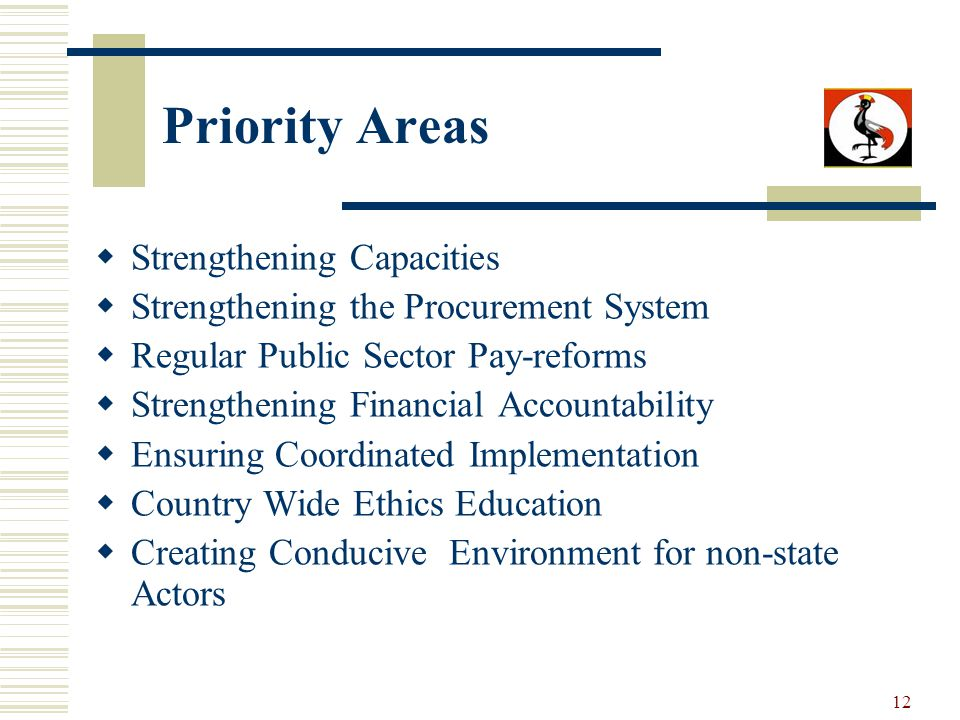 12 Priority Areas Strengthening Capacities Strengthening the Procurement System Regular Public Sector Pay-reforms Strengthening Financial Accountabili