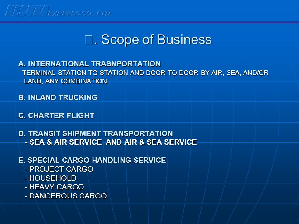 A. INTERNATIONAL TRASNPORTATION TERMINAL STATION TO STATION AND DOOR TO DOOR BY AIR, SEA, AND/OR TERMINAL STATION TO STATION AND DOOR TO DOOR BY AIR,