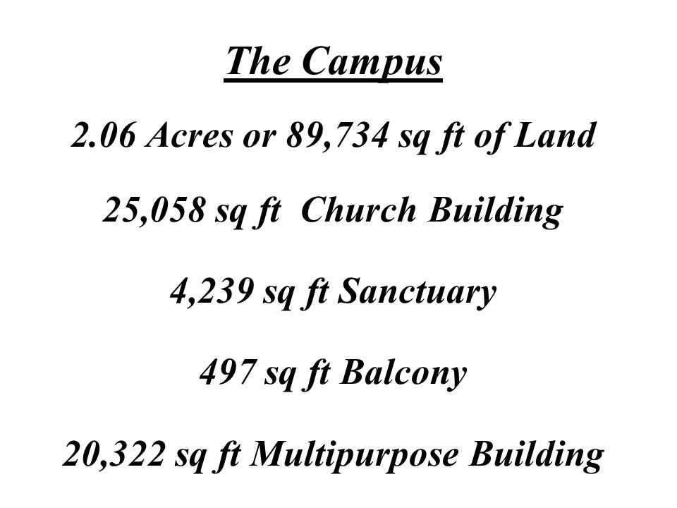The Campus 2.06 Acres or 89,734 sq ft of Land 25,058 sq ft Church Building 4,239 sq ft Sanctuary 497 sq ft Balcony 20,322 sq ft Multipurpose Building