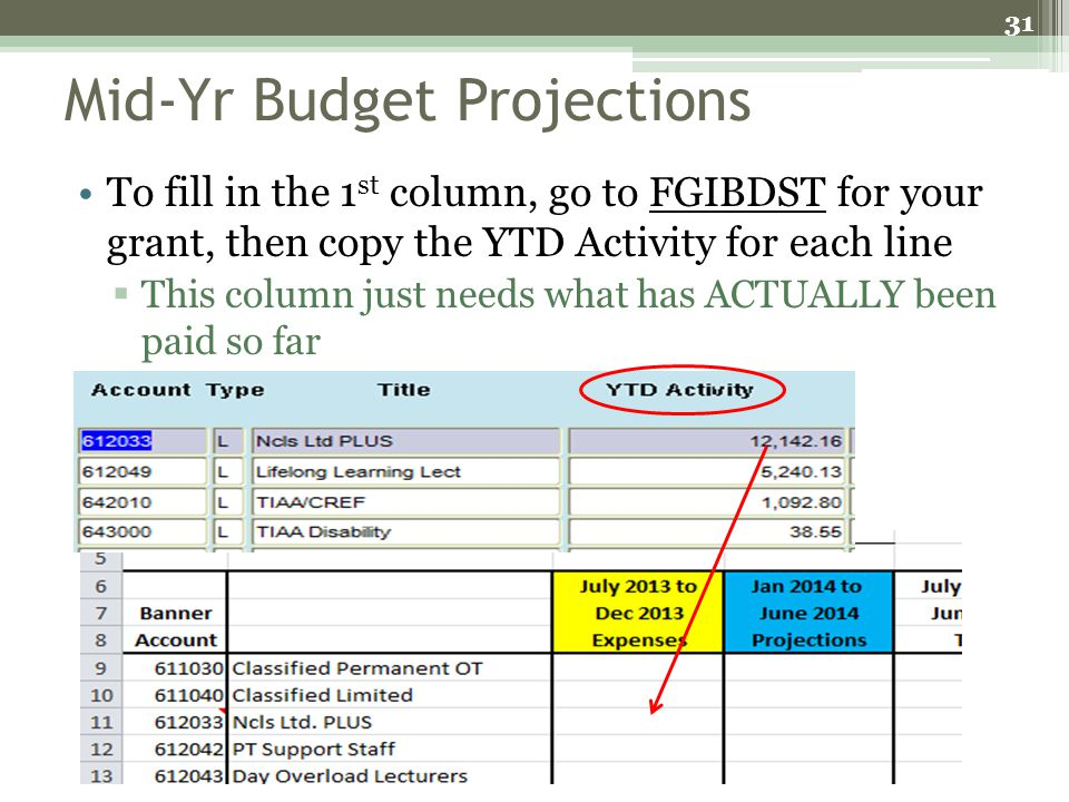 Mid-Yr Budget Projections To fill in the 1 st column, go to FGIBDST for your grant, then copy the YTD Activity for each line This column just needs wh