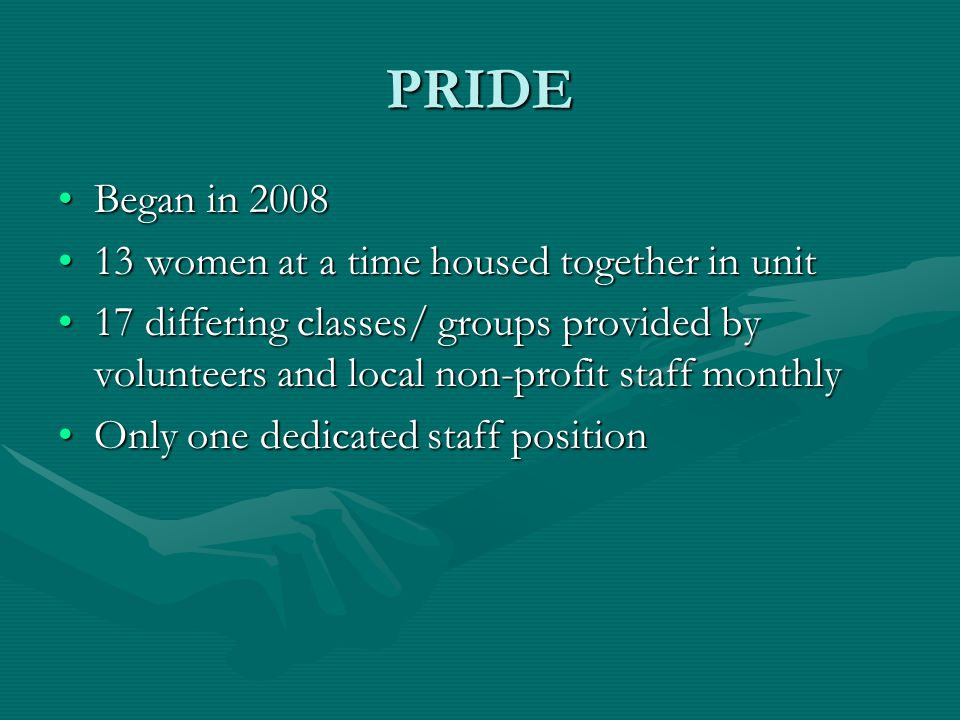 PRIDE Began in 2008Began in 2008 13 women at a time housed together in unit13 women at a time housed together in unit 17 differing classes/ groups provided by volunteers and local non-profit staff monthly17 differing classes/ groups provided by volunteers and local non-profit staff monthly Only one dedicated staff positionOnly one dedicated staff position