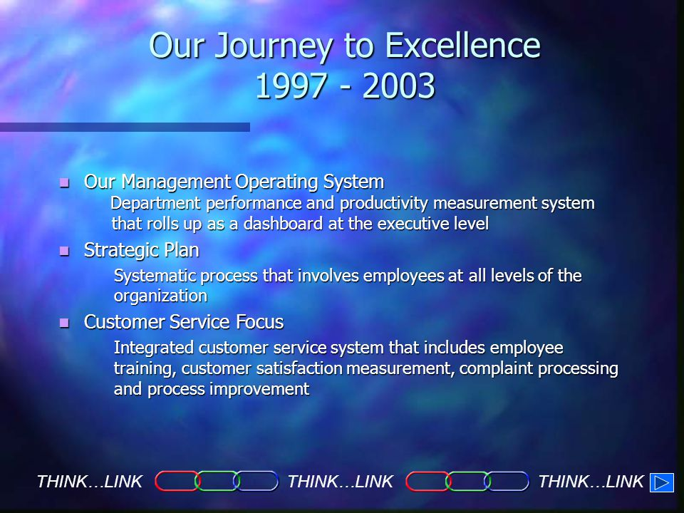 Our Journey to Excellence THINK…LINK Our Management Operating System Our Management Operating System Department performance and productivity measurement system Department performance and productivity measurement system that rolls up as a dashboard at the executive level that rolls up as a dashboard at the executive level Strategic Plan Strategic Plan Systematic process that involves employees at all levels of the organization Customer Service Focus Customer Service Focus Integrated customer service system that includes employee training, customer satisfaction measurement, complaint processing and process improvement
