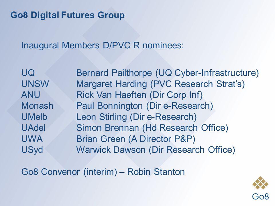 Go8 Digital Futures Group Inaugural Members D/PVC R nominees: UQBernard Pailthorpe (UQ Cyber-Infrastructure) UNSW Margaret Harding (PVC Research Strat