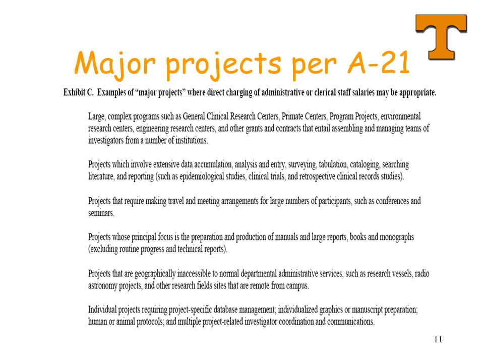 11 Major projects per A-21