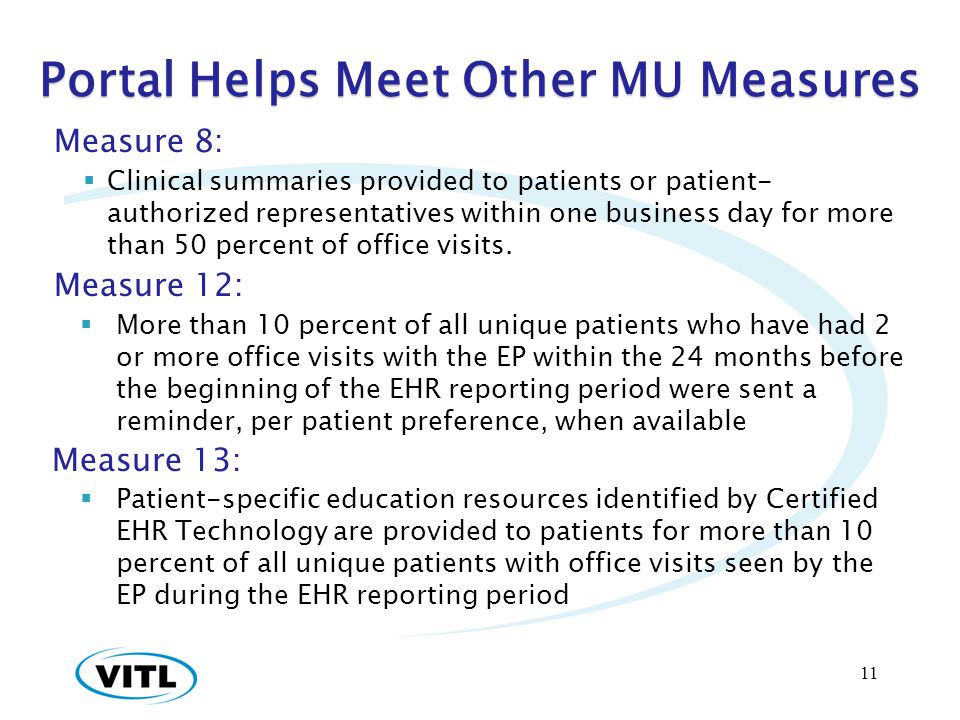 Portal Helps Meet Other MU Measures Measure 8: Clinical summaries provided to patients or patient- authorized representatives within one business day