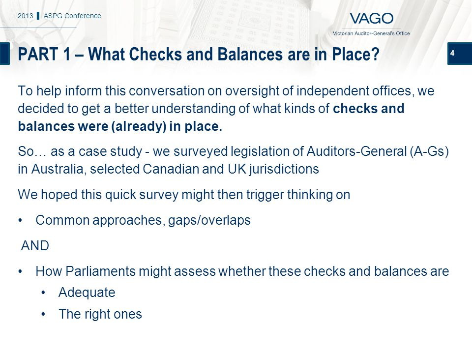 PART 1 – What Checks and Balances are in Place.