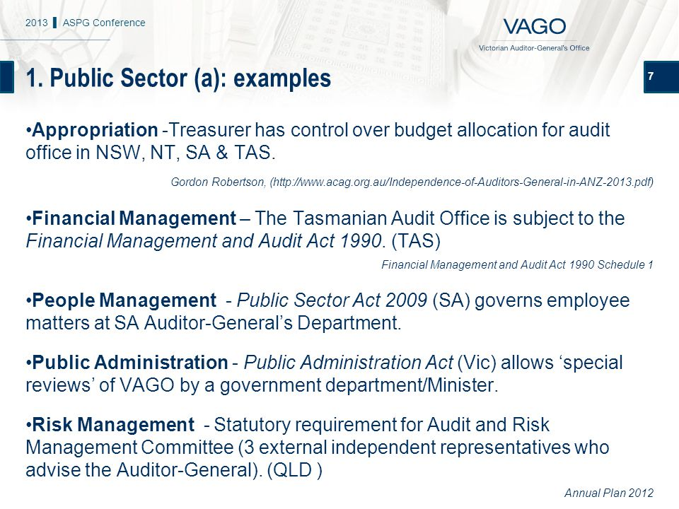 1. Public Sector (a): examples 7 Appropriation -Treasurer has control over budget allocation for audit office in NSW, NT, SA & TAS. Gordon Robertson,