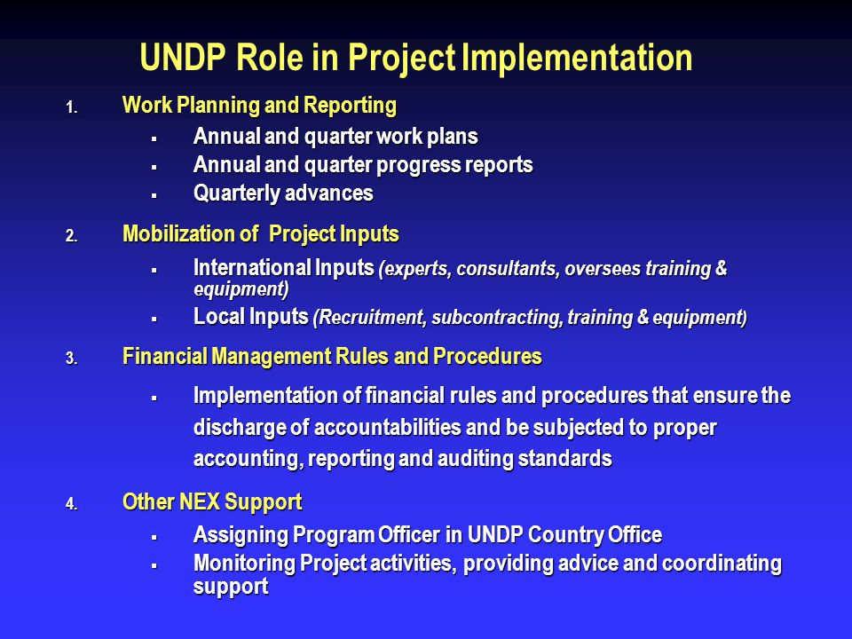 UNDP Role in Project Implementation 1. Work Planning and Reporting Annual and quarter work plans Annual and quarter work plans Annual and quarter prog