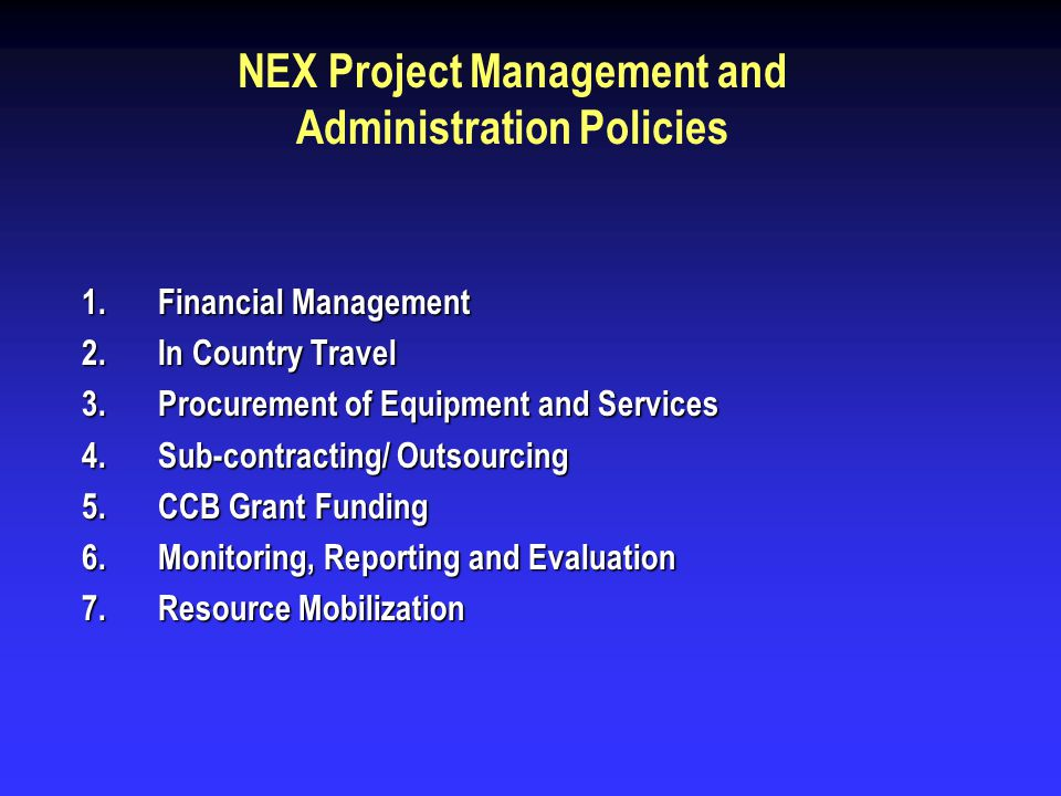 Financial Management A brief outline of financial management procedures is summarized below: Preparation of Annual Work Plan (AWP).