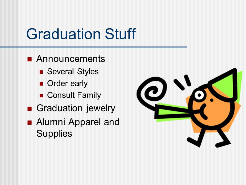 Graduation Stuff Announcements Several Styles Order early Consult Family Graduation jewelry Alumni Apparel and Supplies