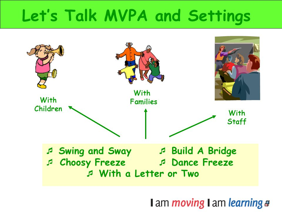 Lets Talk MVPA and Settings Swing and Sway Build A Bridge Choosy Freeze Dance Freeze With a Letter or Two With Children With Staff With Families