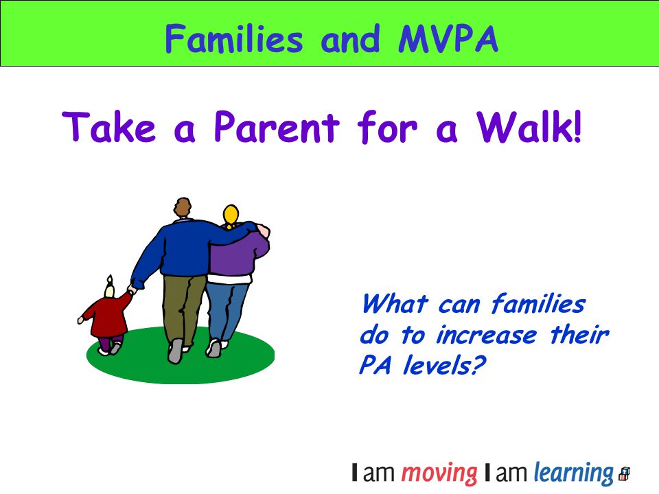 Take a Parent for a Walk! Families and MVPA What can families do to increase their PA levels?