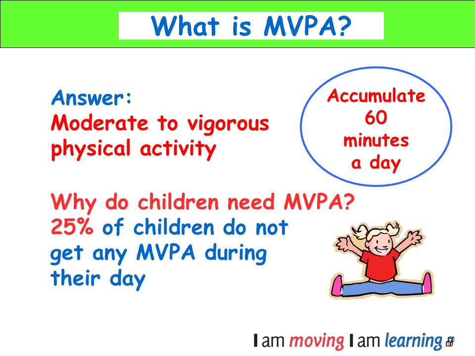 Answer: Moderate to vigorous physical activity Why do children need MVPA? 25% of children do not get any MVPA during their day What is MVPA? Accumulat