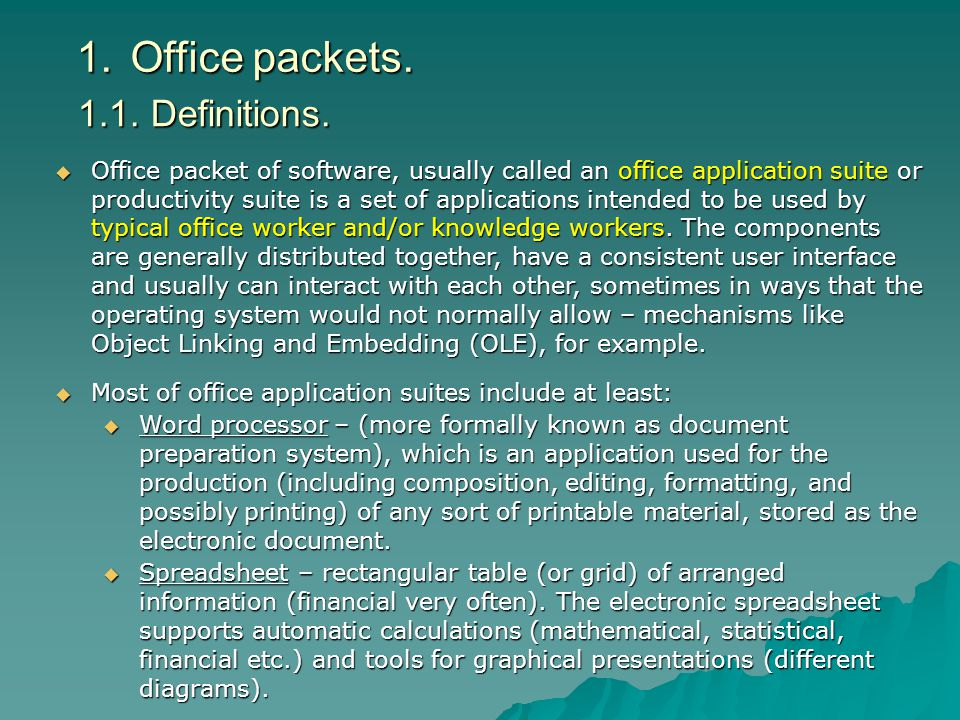 1.Office packets.