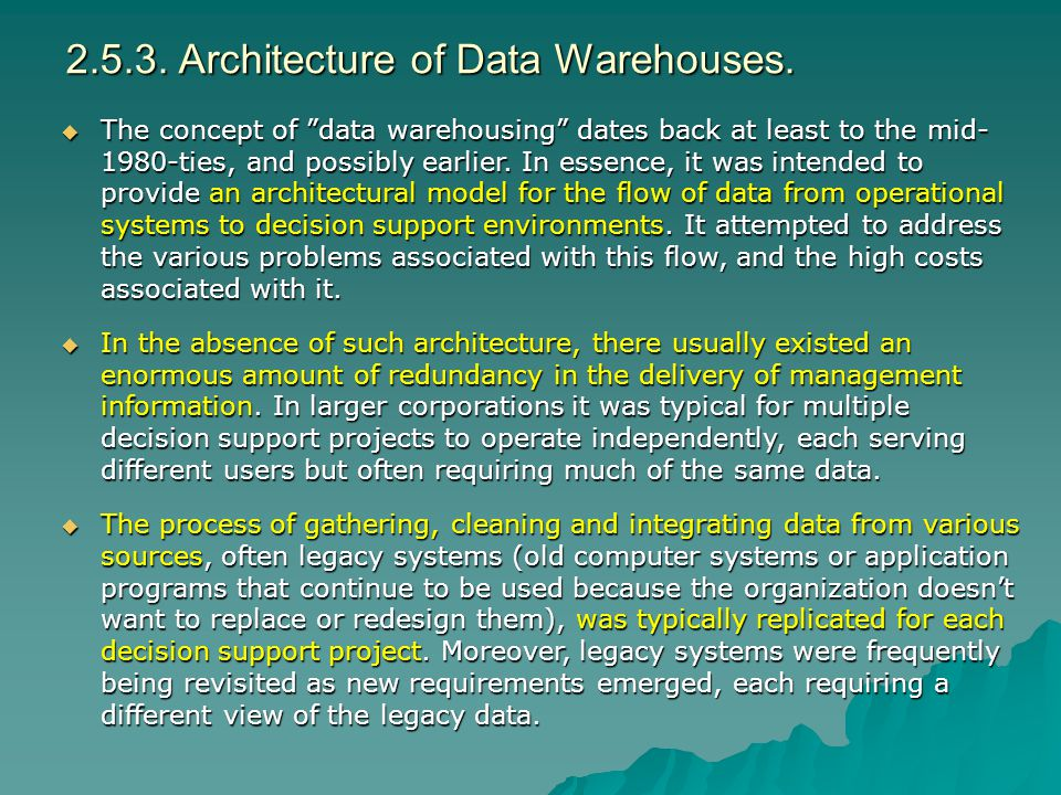 2.5.3. Architecture of Data Warehouses.