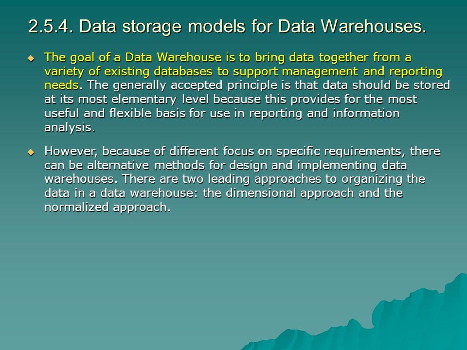 2.5.4. Data storage models for Data Warehouses.