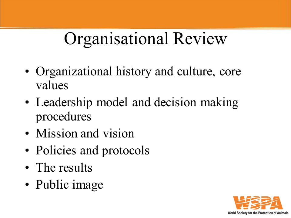 Organisational Review Organizational history and culture, core values Leadership model and decision making procedures Mission and vision Policies and protocols The results Public image