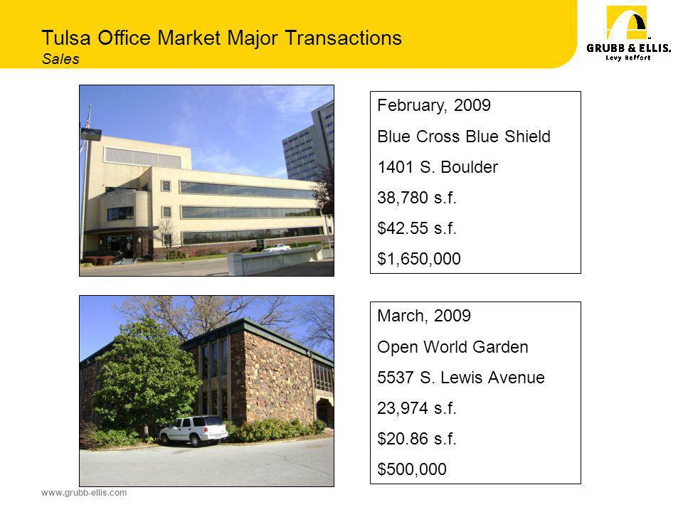 www.grubb-ellis.com Tulsa Office Market Major Transactions Sales February, 2009 Blue Cross Blue Shield 1401 S.