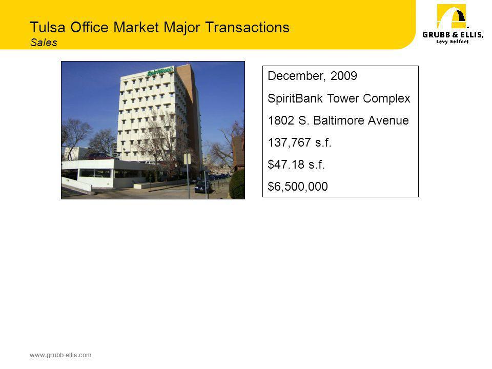 www.grubb-ellis.com Tulsa Office Market Major Transactions Sales December, 2009 SpiritBank Tower Complex 1802 S.