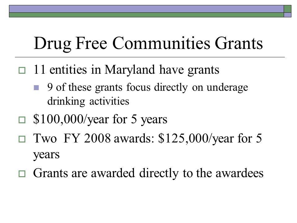 Drug Free Communities Grants 11 entities in Maryland have grants 9 of these grants focus directly on underage drinking activities $100,000/year for 5 years Two FY 2008 awards: $125,000/year for 5 years Grants are awarded directly to the awardees