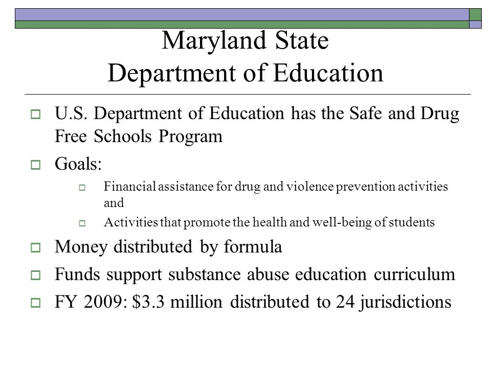 Maryland State Department of Education U.S.