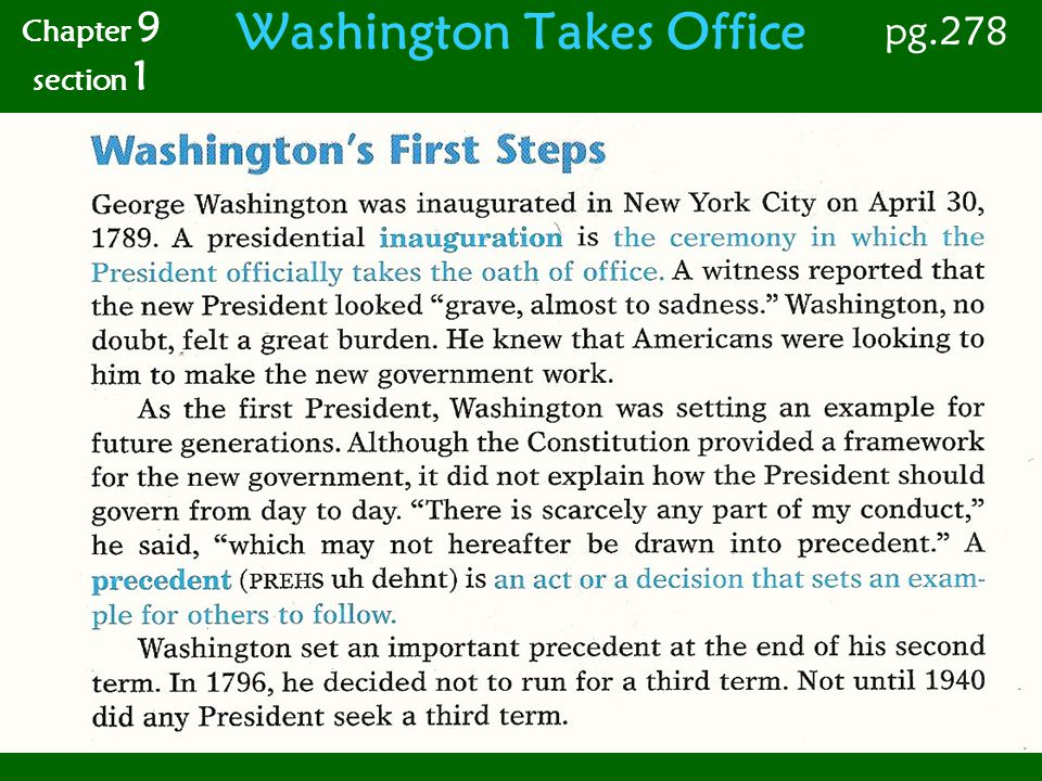 Washington Takes Office Chapter 9 section 1 pg.280 Hamiltons Plan The problem Alexander Hamilton faced was that the U.S.