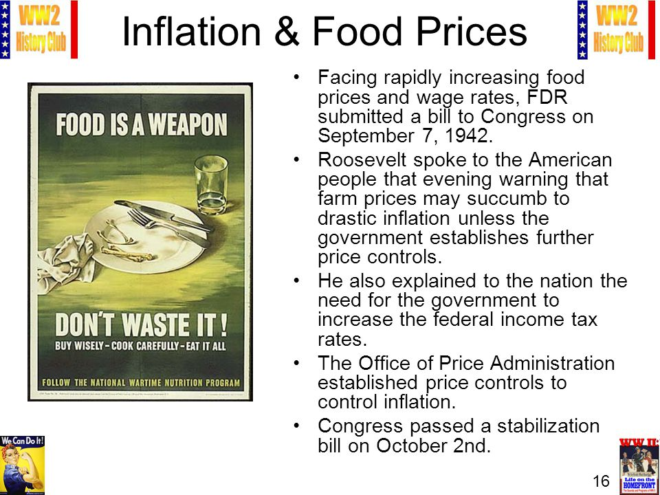 16 Inflation & Food Prices Facing rapidly increasing food prices and wage rates, FDR submitted a bill to Congress on September 7, 1942.