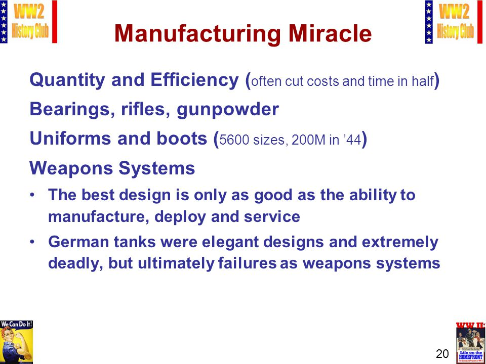 20 Manufacturing Miracle Quantity and Efficiency ( often cut costs and time in half ) Bearings, rifles, gunpowder Uniforms and boots ( 5600 sizes, 200