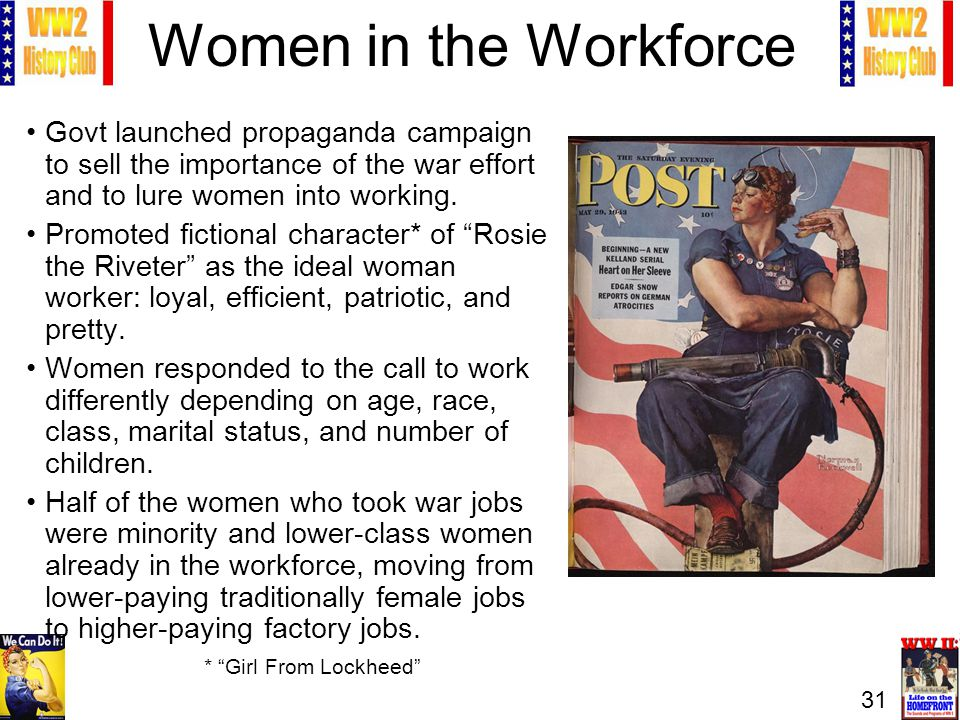 31 Women in the Workforce Govt launched propaganda campaign to sell the importance of the war effort and to lure women into working.