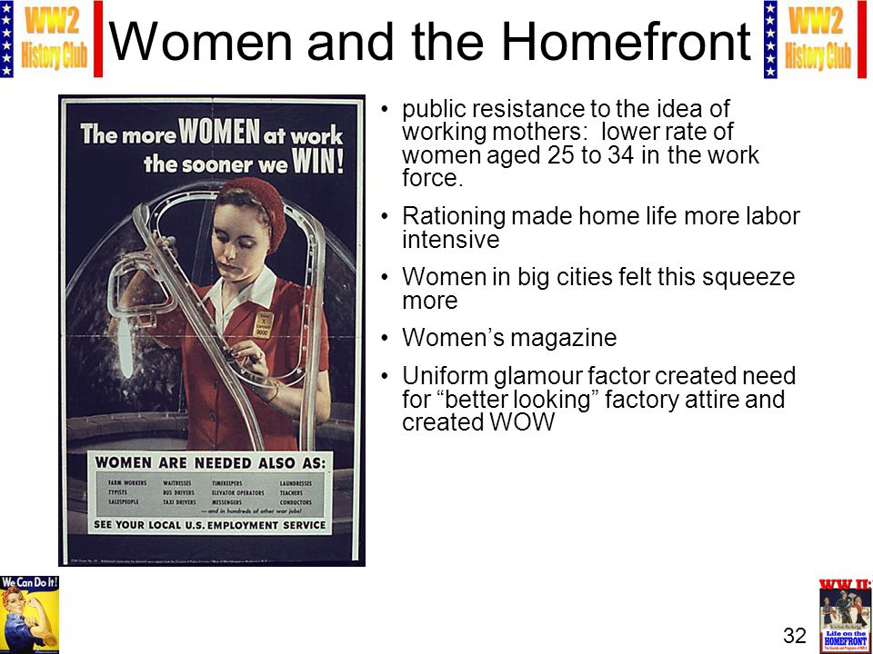32 Women and the Homefront public resistance to the idea of working mothers: lower rate of women aged 25 to 34 in the work force. Rationing made home