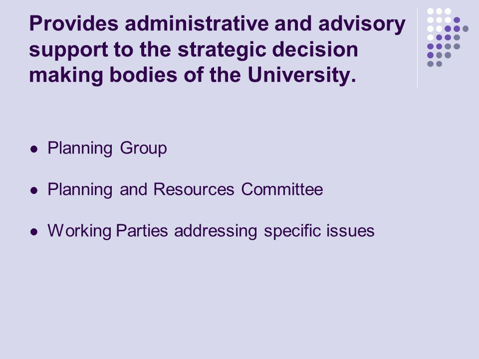 Provides administrative and advisory support to the strategic decision making bodies of the University.