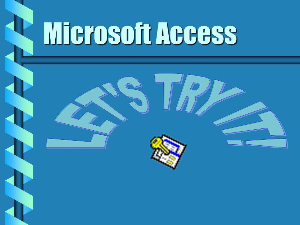 Microsoft Access CUSTOMERS C1 - Jack C2 - Jill C3 - Jerry C4 - John PRODUCTS P1 - Hats P2 - Socks P3 - Shoes P4 - Purses Jack bought Hats SALES S1 - C